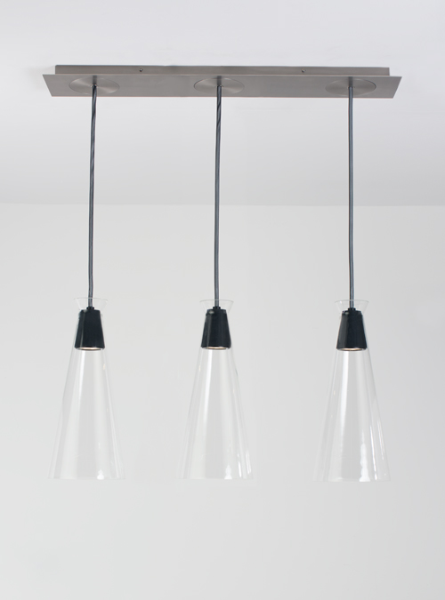 Brushed Nickel Linear Canopy With Black Pendant